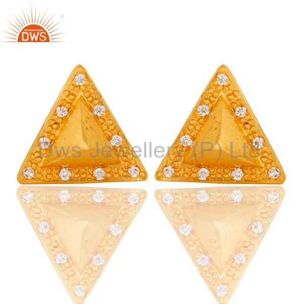 Triangle Post Fashion Geometry Czz Studded Gift Wholesale Earring