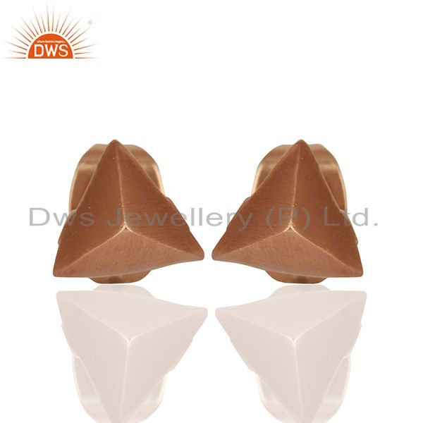 Pyramid Design Rose Gold Plated Brass Fashion Stud Earring Supplier
