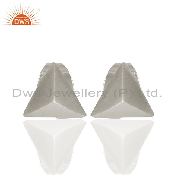 Pyramid Design Silver Plated Brass Fashion Stud Earring manufacturer