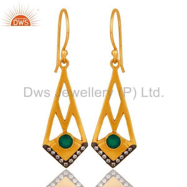 18k Gold Plated Traditional Dangle Earrings with Green Onyx & Cubic Zarconia