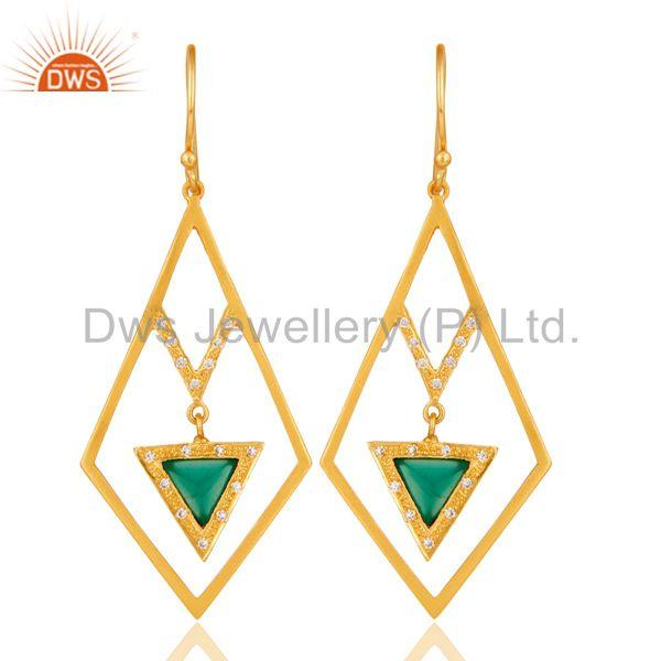 Lovely Zig Zag Style Brass Earrings 18k Gold Plated with Green Onyx & CZ