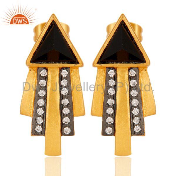 Traditional Handmade Arrow Design Brass Earrins with 18k Gold Plated & CZ
