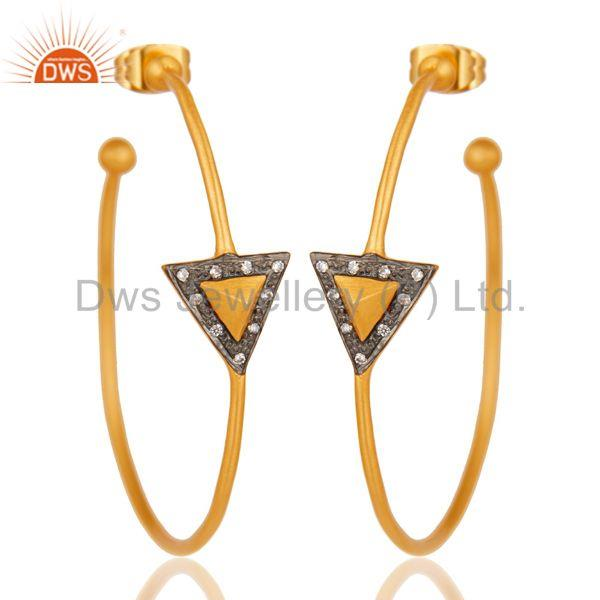 18k Yellow Gold Plated Traditional Handmade Brass Earrings with White Zircon