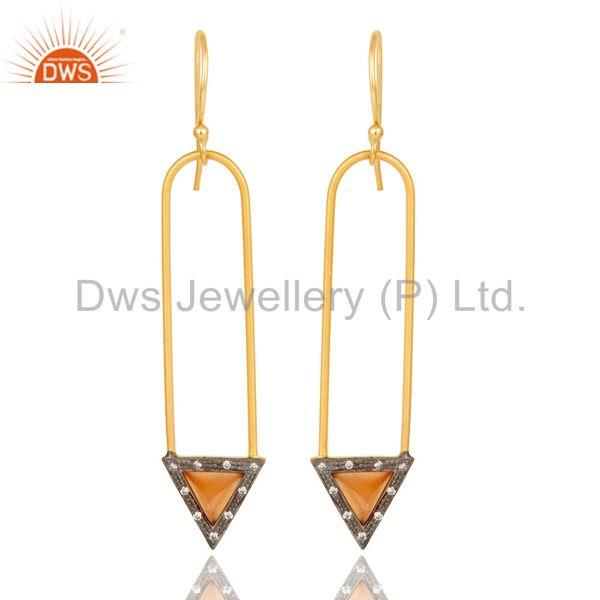 18k Gold Plated Moonstone & Zirconia Charm Arrow Design Dangle Brass Earrings