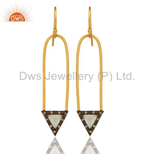 18k Gold Plated Aqua & Zirconia Charm Arrow Design Dangle Brass Earrings