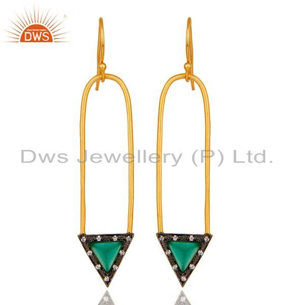 18k Gold Plated Green Onyx & Zirconia Charm Arrow Design Dangle Brass Earrings