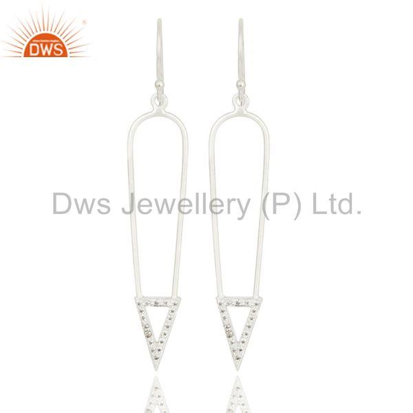 Silver Plated Long Arrow Charm Design White Zirconia Brass Earrings