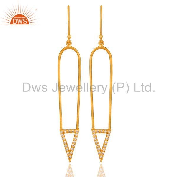 Traditional 18k Gold Plated Long Arrow Charm Design White Zircon Brass Earrings