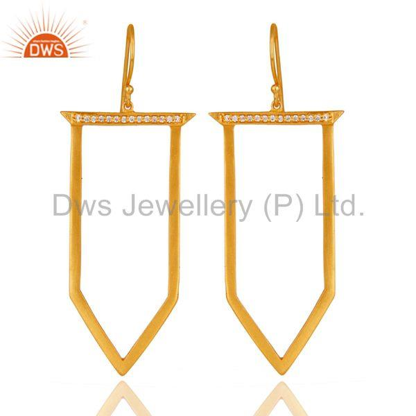 Traditional Handmade Ice Cream Design Brass Earrins with 18k Gold Plated & CZ