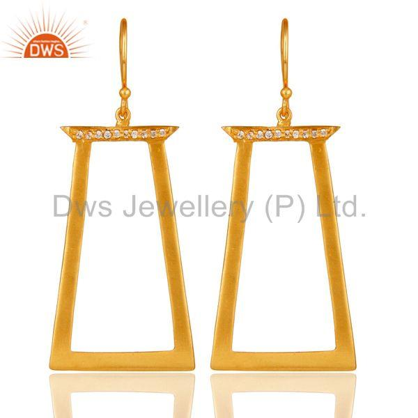Traditional Handmade 18k Gold Plated White Zircon Brass Dangle Earrings