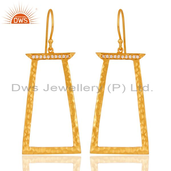 Handmade Brass Gold Plated Fashion Cz Earrings Jewelry Suppliers