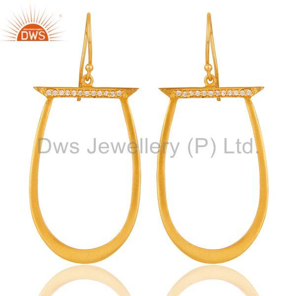 White Zircon Gold Plated Brass Fashion Drop Earrings Manufacturers