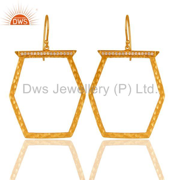 Designer Brass Gold Plated Fashion Cz Gemstone Earring Jewelry