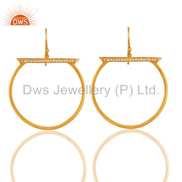 18K Yellow Gold Plated Handmade White Zirconia Drops Brass Earrings