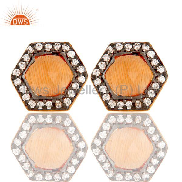 Peach Moonstone Handmade Zircon Brass Fashion Stud Earrings Suppliers