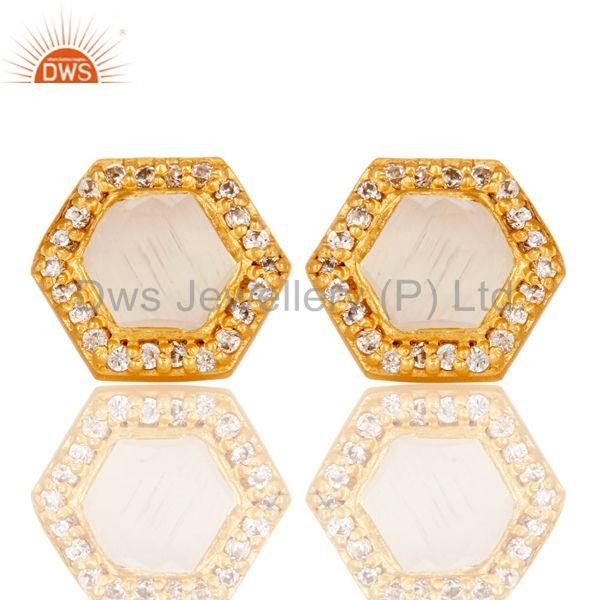 White Moonstone Gold Plated Brass Fashion Stud Earring Manufacturer