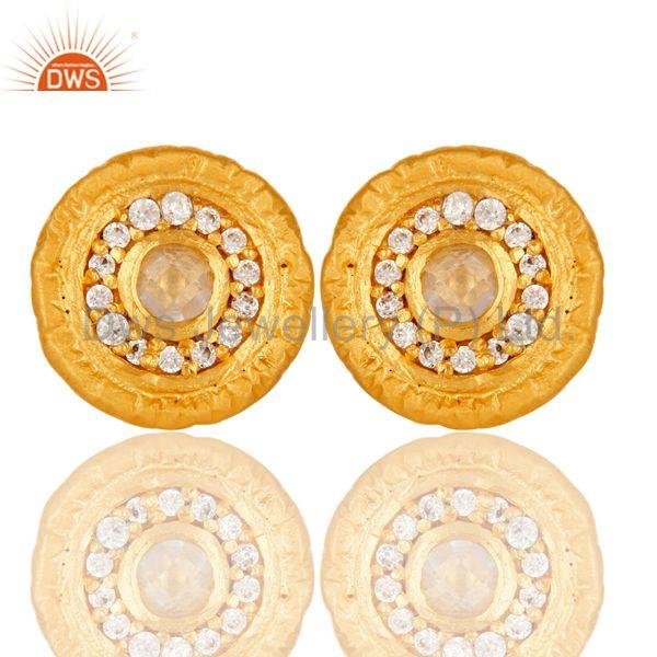 18k Gold Plated Round Hanmde Brass Stud Earrings with Cubic Zarconia