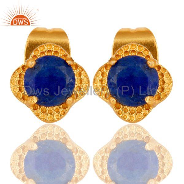 18k Yellow Gold Plated With Round Lapis Brass Stud Earrings Jewellery