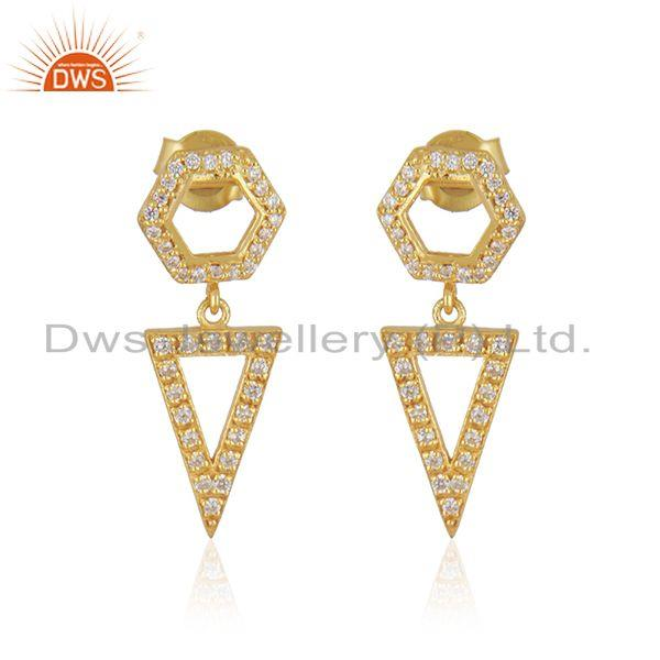 White Zircon Yellow Gold Plated 925 Silver Girls Earrings Jewelry Wholesale