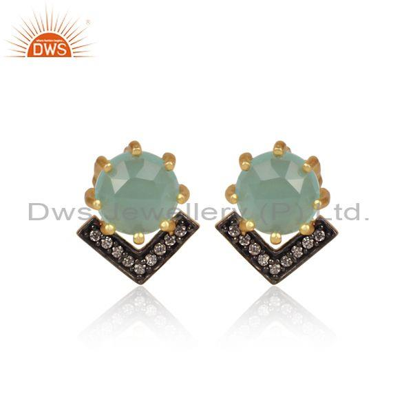 CZ And Aqua Chalcedony Set Black And Gold On Brass Earrings