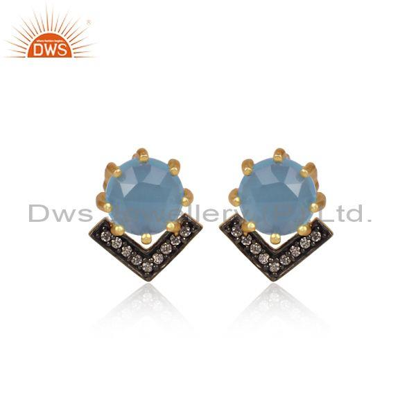 CZ And Blue Chalcedony Set Black And Gold On Brass Earrings