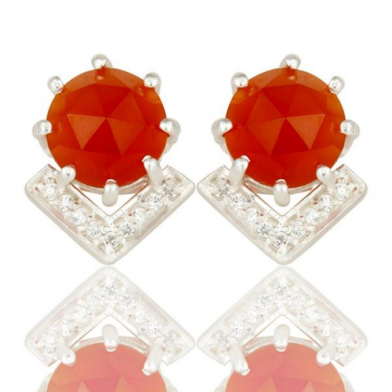 Carnelian and White Zircon With Sterling Silver Plated Brass Stud Earrings