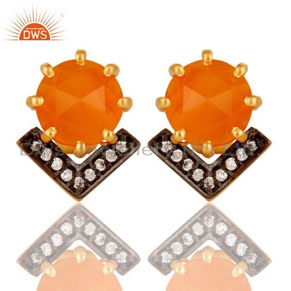 Carnelian and White Zircon New Look Fashion Design Brass Stud Earrings