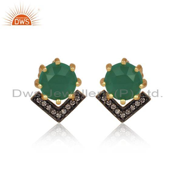 CZ And Round Green Onyx Set Black And Gold On Brass Earrings