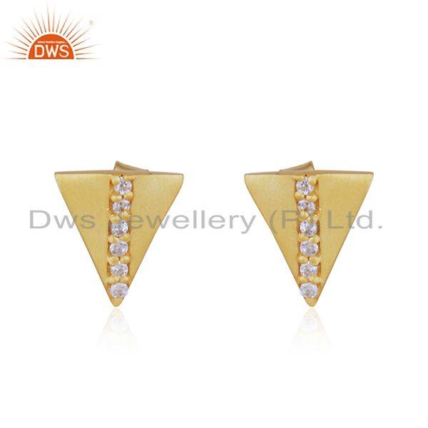 Gold Plated 925 Silver Triangle White Zircon Stud Earrings Manufacturer Jaipur