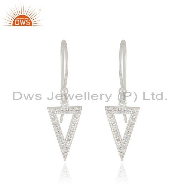 Triangle Shape Fine Sterling 925 Silver Designer Earrings Wholesaler From India