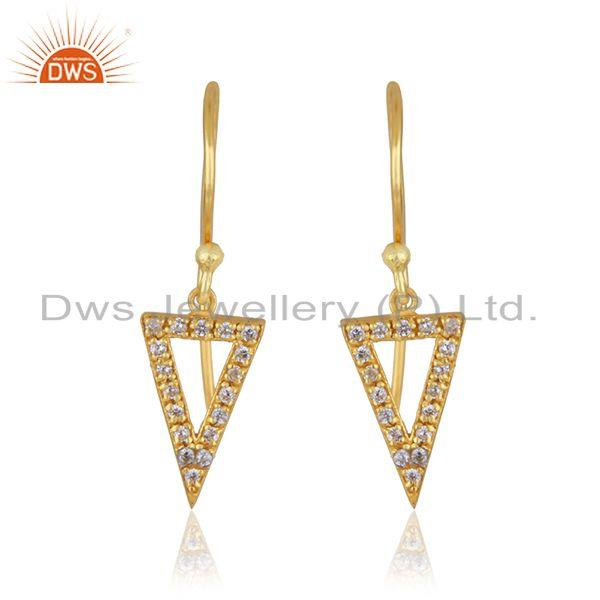 Triangle Design 925 Silver Yellow Gold Plated White Zircon Drop Earring Supplier