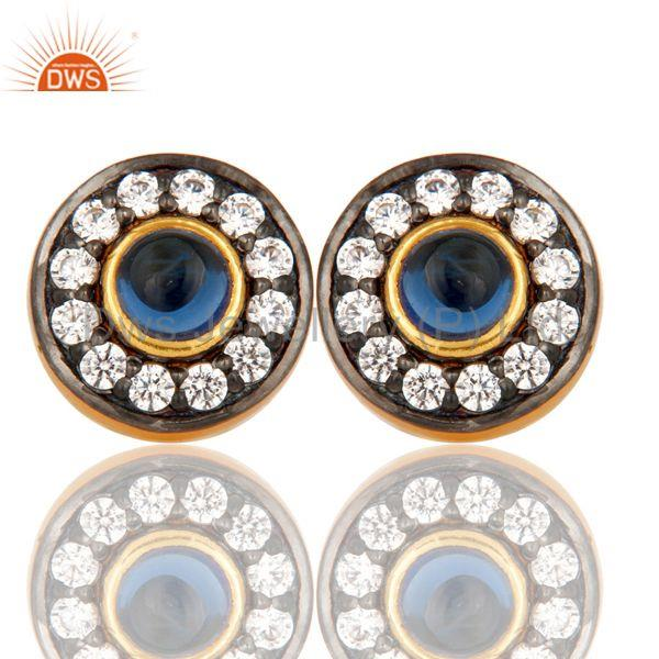 18k Gold Plated Round Hanmde Brass Stud Earrings with Corrundum & CZ