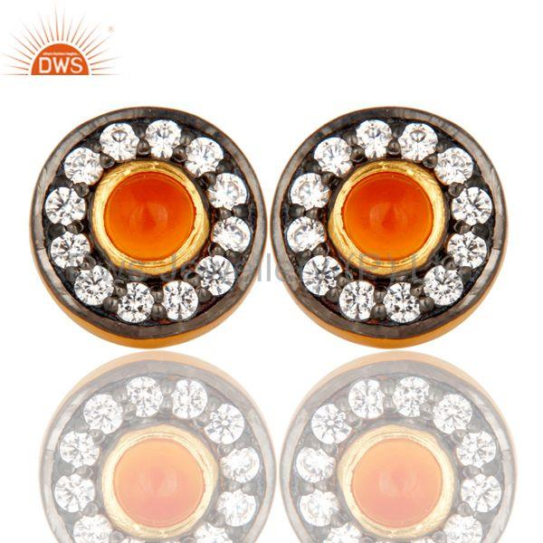 Carnelian Gemstone Round Stud Brass Fashion Earrings Manufacturers