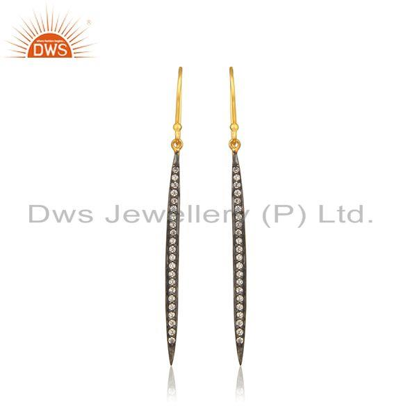 Liner Shape Gold Plated Silver Cz Designer Earring Jewelry