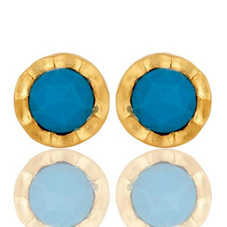 18k Gold Plated with Turquoise Round Design Brass Stud Earrings