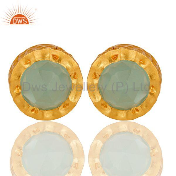 18k Gold Plated With Aqua Brass Stud Earrings Jewellery