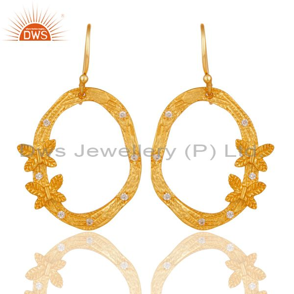 Butterfly Design Gold Plated Brass Fashion CZ Earrings Manufacturers