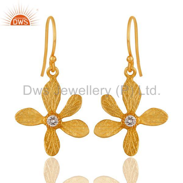 Traditional Handmade 18k Yellow Gold Plated Flower Design Brass Earrings with CZ