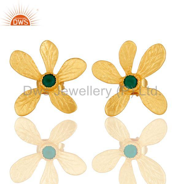 Handmade 18k Gold Plated Flower Design Brass Studs Earrings With Green Onyx