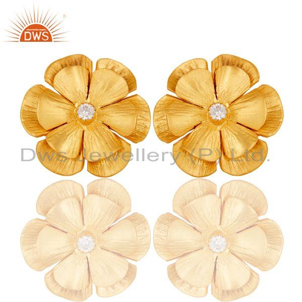 Floral Design Gold Plated Designer Brass Fashion Stud Earring Supplier