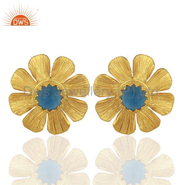 Blue Chalcedony Stud 18K Yellow Gold Plated Brass Earrings Jewelry