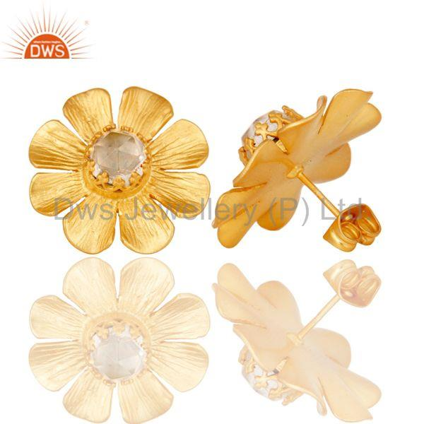 Crystal Quartz Traditional Wide Style Brass Studs Earrings With 18k Gold Plated