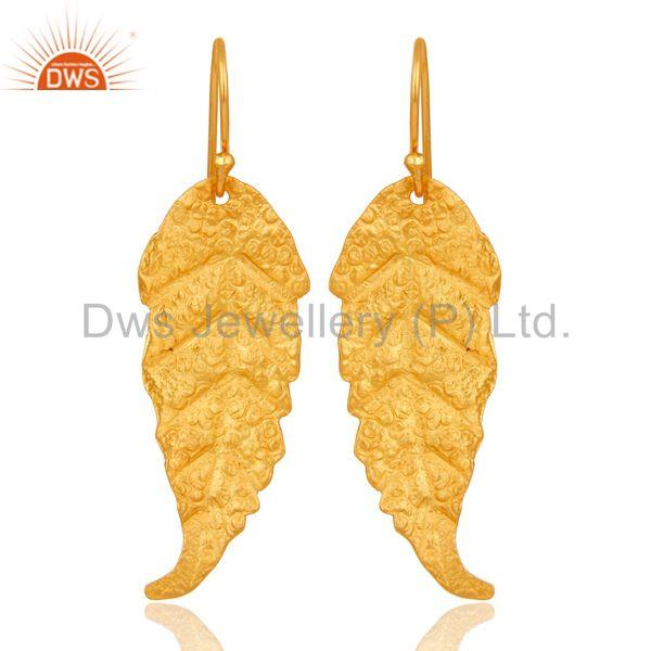 Traditional Handmade Leaf Design Brass Earrings with 18k Gold Plated