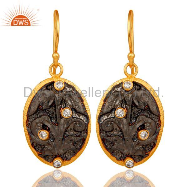 Handmade Flower Graving Design Brass Earrings with 18l Gold Plated & CZ