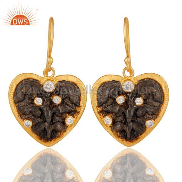 Traditional Handmade White Zircon Fashion Design Earrings With 22k Gold Plated