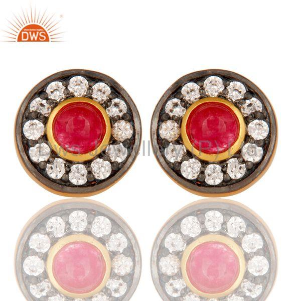 18k Gold Plated Brass Stud Earrings with Natural Red Aventurine & Cubic Zarconia