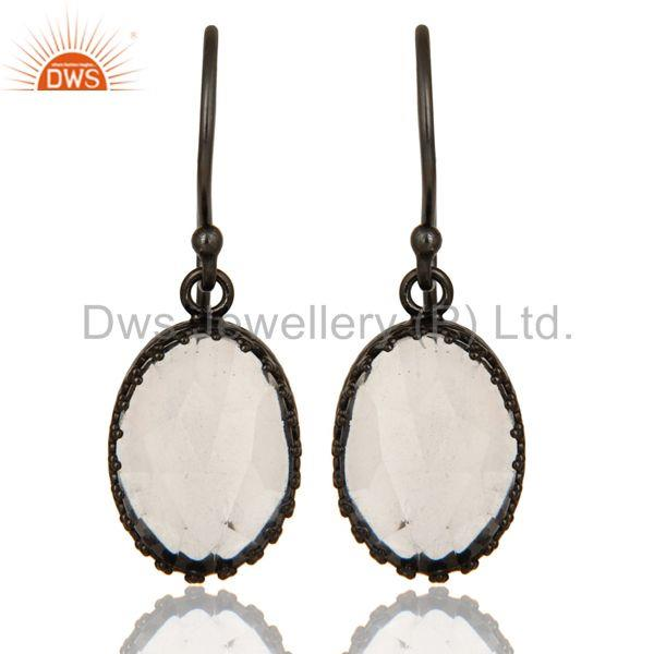 Crystal Quartz Gemstone Black Rhodium Plated Brass Earrings Supplier