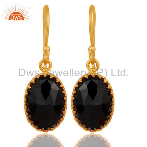 Black Onyx Gemstone Gold Plated Brass Fashion Drop Earrings Wholesale