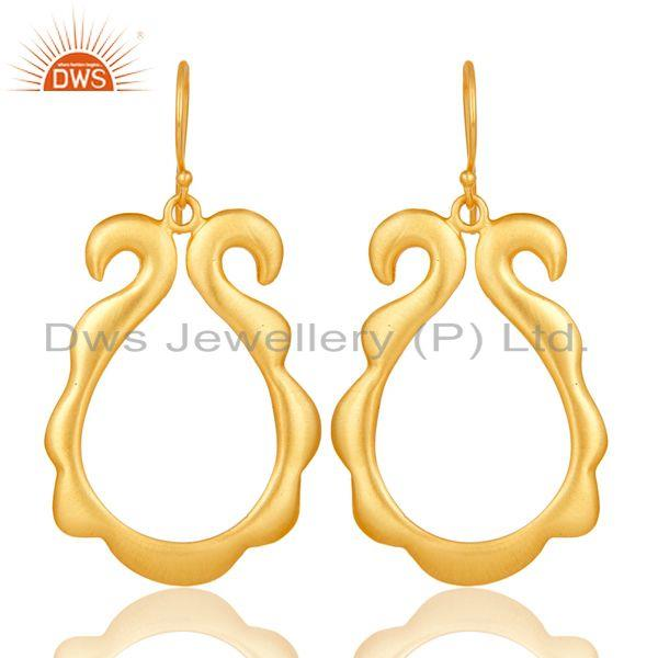 Traditional Handmade Brass Earrings with 18k Gold Plated