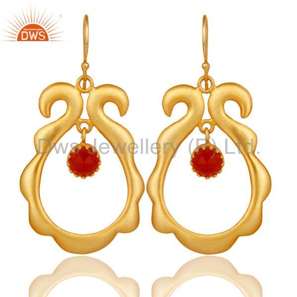 Red Onyx Gemstone 18k Gold Plated Brass Fashion Womens Earrings